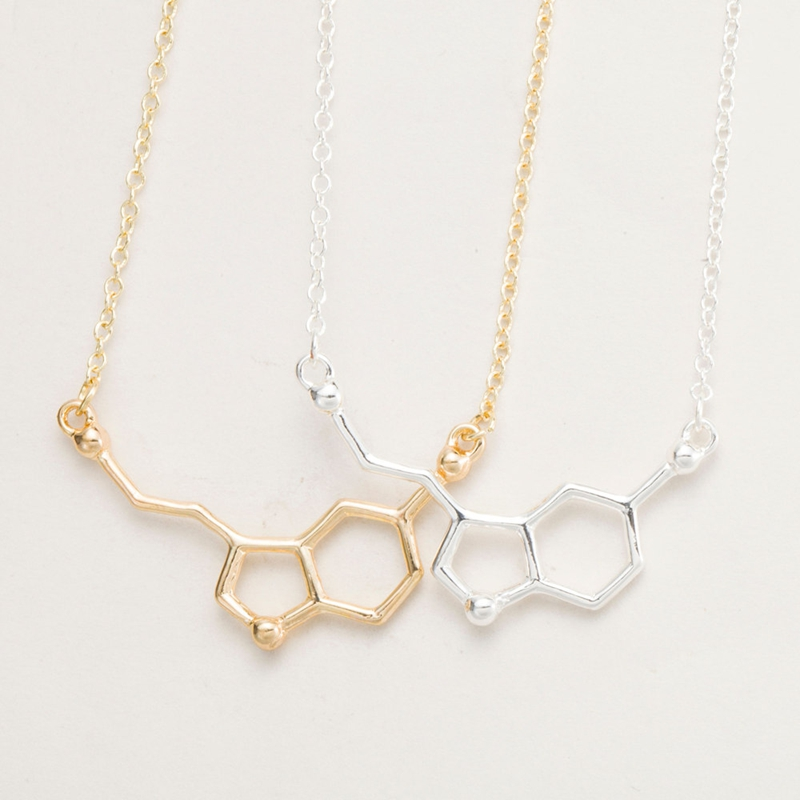 Yiustar 2017 Química Molécula de Serotonina Pingentes Colar Para Mulheres Gargantilhas Colar Simples Elegante Ouro Prata Colar XL012