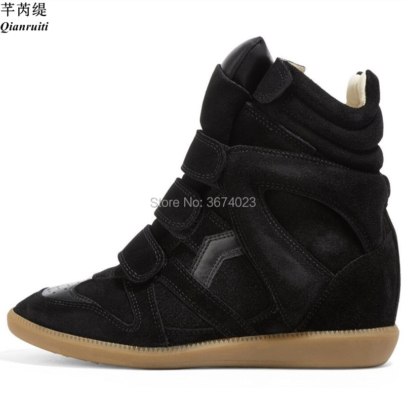 Qianruiti Winter Shoes Women Wedge Sneakers High Top Ankle Boots Causal Shoes Height Increasing Boots Platform Concealed Heels-in Ankle Boots from Shoes    1