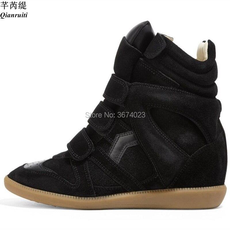 Qianruiti الشتاء أحذية النساء إسفين أحذية رياضية عالية أعلى حذاء من الجلد حذاء خفيف ارتفاع زيادة الأحذية منصة أخفى الكعوب-في أحذية الكاحل من أحذية على  مجموعة 1