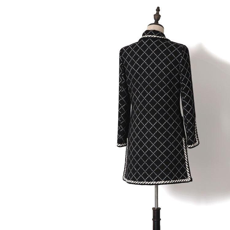 Nouveau Cultiver Blanc Noir Longue Vent Femmes Femelle Et Doux En Tweed Wt0118 Sa Dame Manteau Petit Printemps Moralité rpxUqrOA