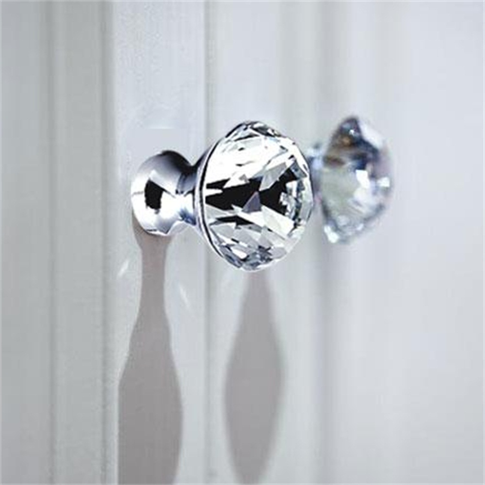 2 Pcs  Fashion Diamond Shape Crystal Knobs Cabinet Knob Cupboard Drawer Pull Handle Door Knob Home Furniture Accessories