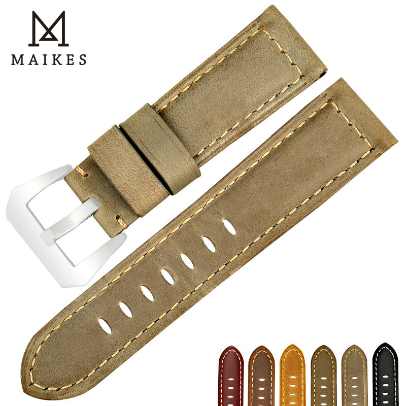 MAIKES watch accessories leather watchbands 22mm 24mm 26mm watch strap vintage watch bracelet for samsung gear s3 or Panerai maikes 18mm 20mm 22mm watch belt accessories watchbands black genuine leather band watch strap watches bracelet for longines