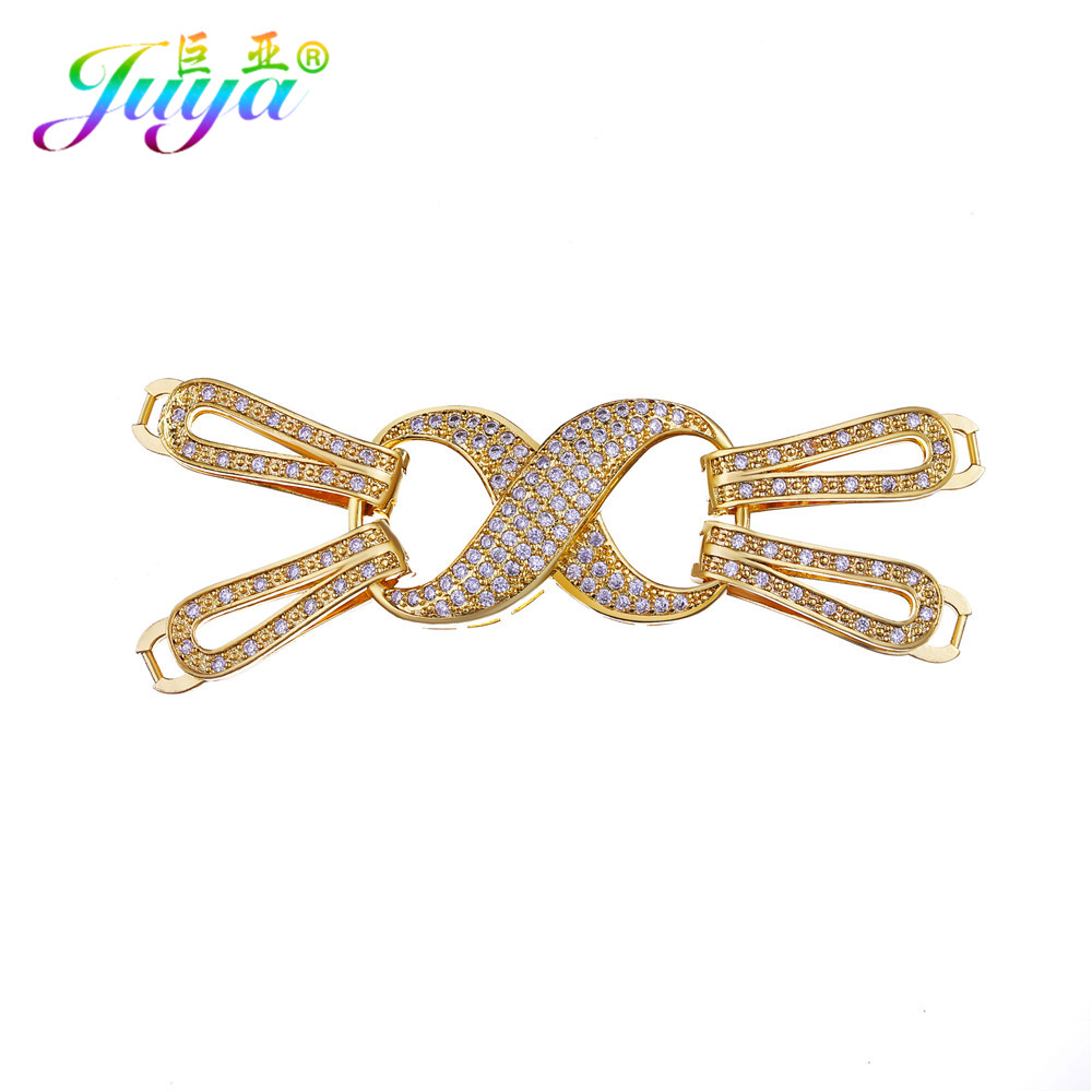 Luxury Handmade Jewelry Components Gold/Silver Infinity Fastener Clasp Connectors Accessories For Pearls Jewelry DIY Making