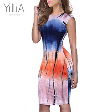 Yilia Party Club Mini Bodycon Dress Women 2017 Casual Tie Dyed Gradient Colorful Personality Print Short