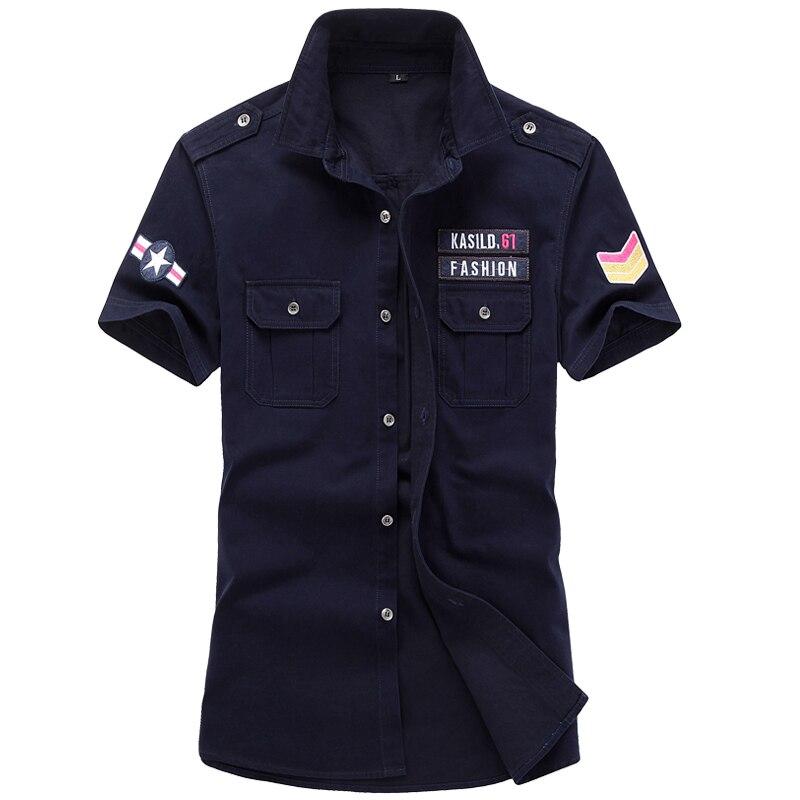 Trendy Men Shirt Pocket Cotton Short Sleeve Shirt High Quality Armband Royal Blue ArmyGreen Khaki M-6XL Male Blouses