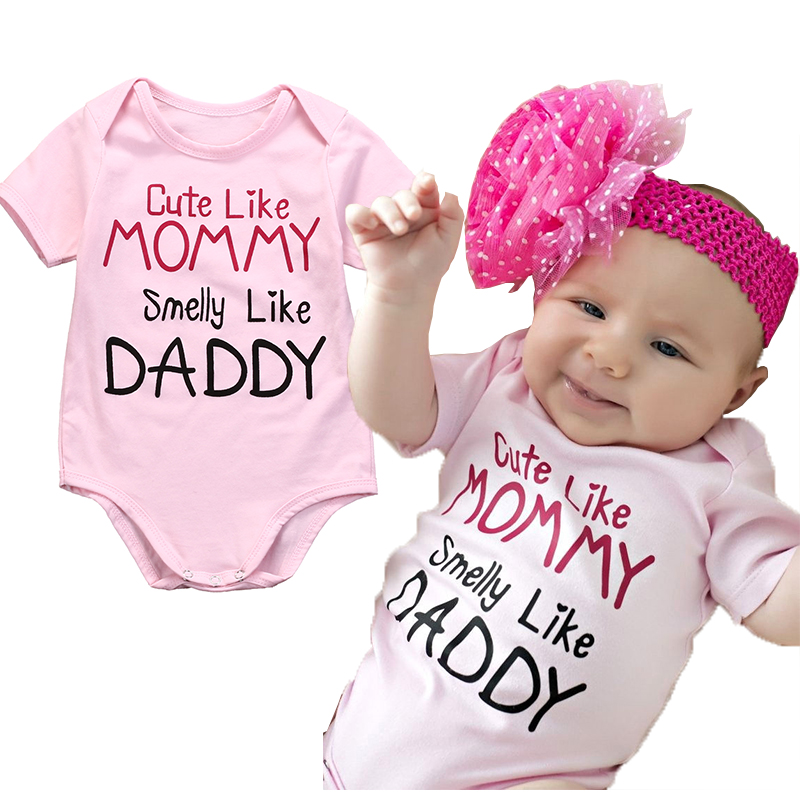 Pink Newborn Baby girls letter Mommy Daddy Bodysuits ...