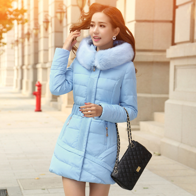 ФОТО Winter Coat Women 2015 Fur Collar Hooded Cotton Parka Female Outwear Women's Thick Warm Slim Jackets And Coats DX780