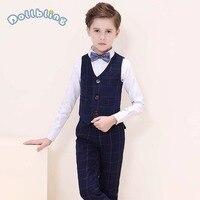Boys New Suits 4 Pcs Set For Wedding Party Wear Kids Suit Gentleman Boys Costume Flower Children Boys Formal Spring Clothing Set