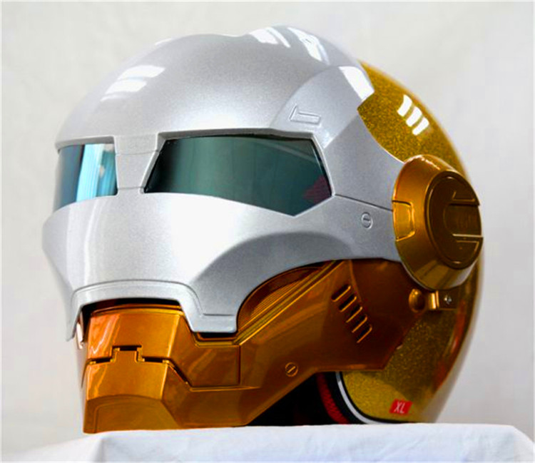 Motorcycle helmet 901 half The Ironman helmet safety premium off-road racing exposing the surface of gold