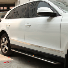 High quality stainless steel Chrome Body side moulding cover trim for 2009  2010 2011 2012 2013 2014 Audi Q5 car styling free shipping high quality stainless steel 4pcs side door bright trim protection sticker scuff trim for audi a6l 2012 2015