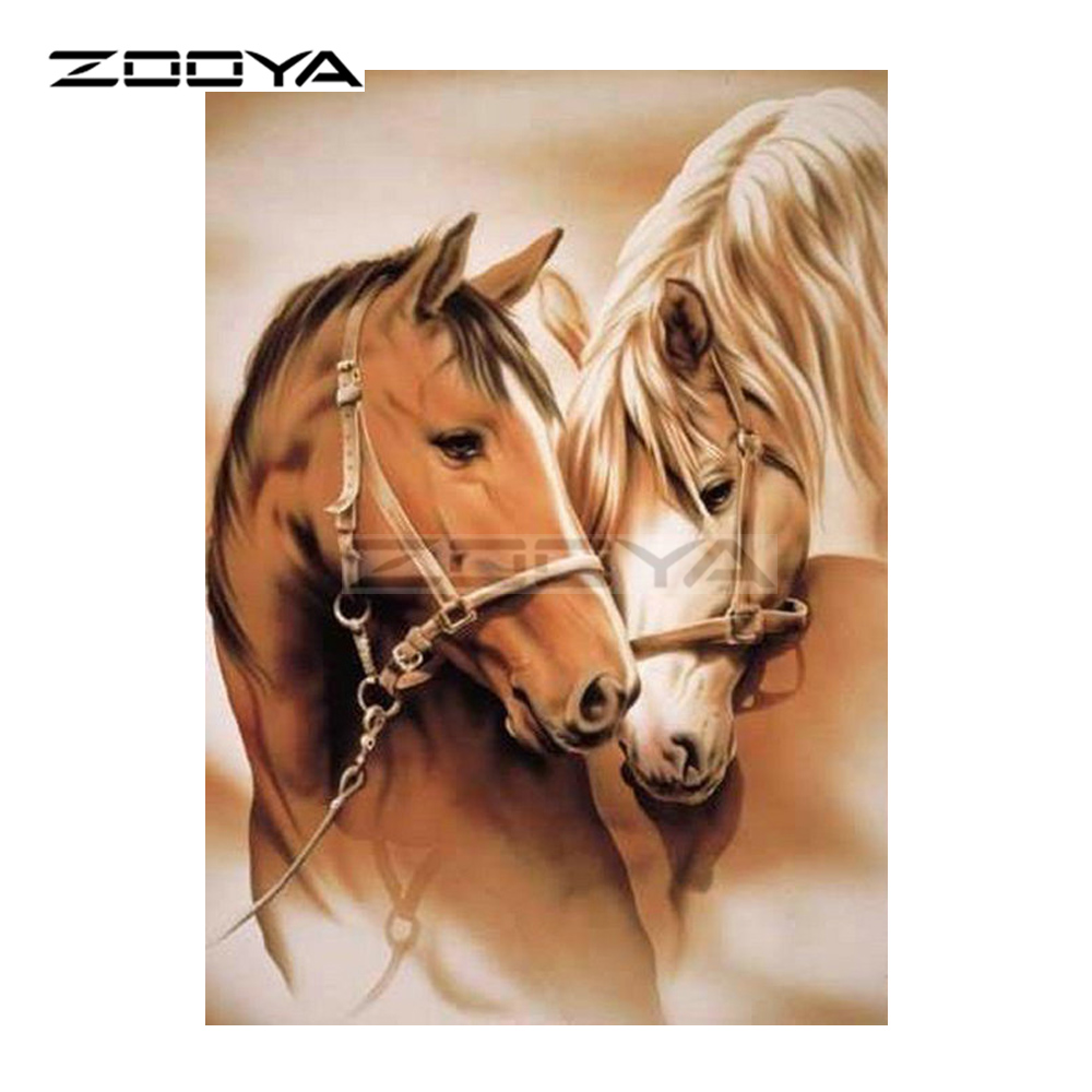 ZOOYA 5D DIY Diamond Embroidery Brown Couple Horse Diamond Painting Cross Stitch Full Square Rhinestone Mosaic Decoration BK274-in Diamond Painting Cross Stitch from Home & Garden
