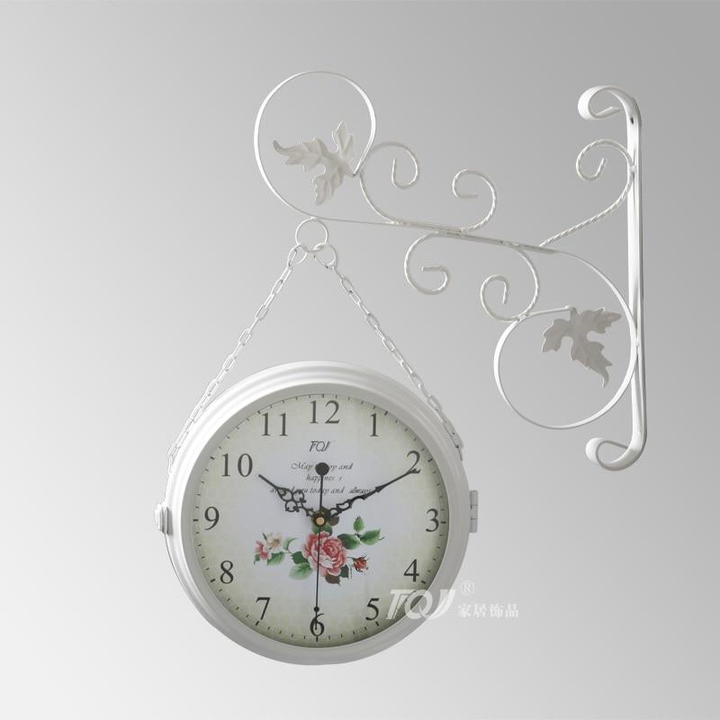 ᗔDoble cara diseño moderno reloj de pared Saat Reloj de pared de ...
