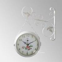 Double Sided Wall Clock Modern Design Saat Wrought Iron Wall Clock Relogio Parede Reloj Pared Horloge Murale Duvar Saati Wanduhr
