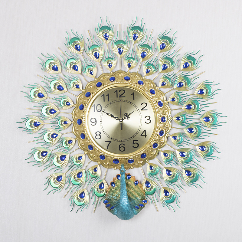 Creative Three-dimensional Peacock Open Living Room Wall Clock Mute Clock Modern Home Clock Fashion Decorative Quartz Clock