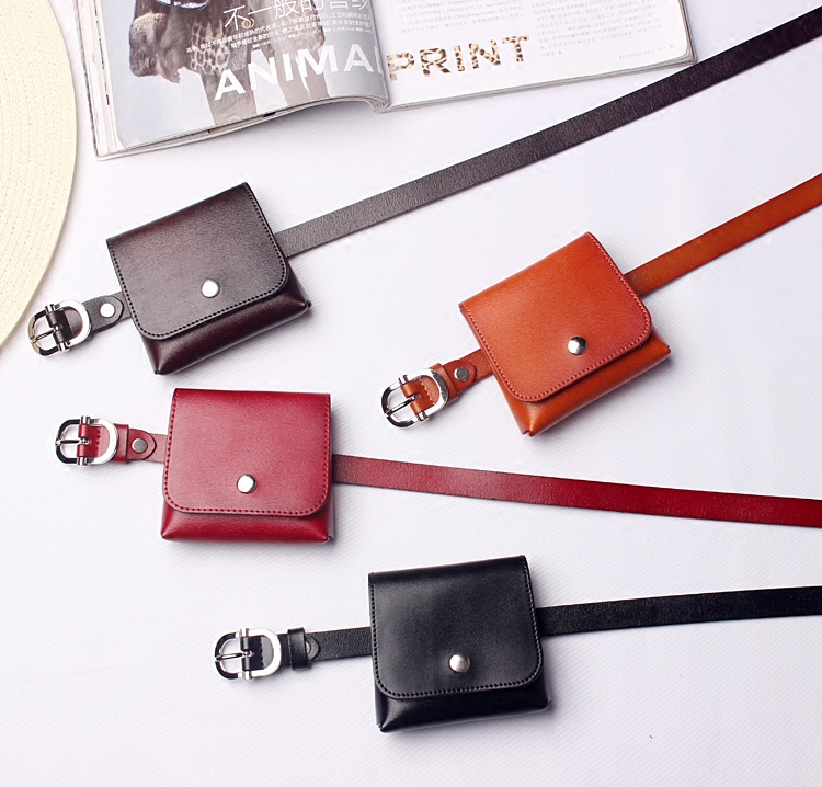 2019 Brand Genuine Leather Square Fanny Bag Waist Belts Women Solid Buckle PIn Cow Leather Waist Packs Girls Mini Purse Handbag