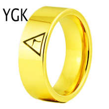 YGK Brand JEWELRY 8MM Width 14th Degree MASONIC Gold Color Pipe Cut Tungsten Carbide Ring for Man and Woman's Wedding