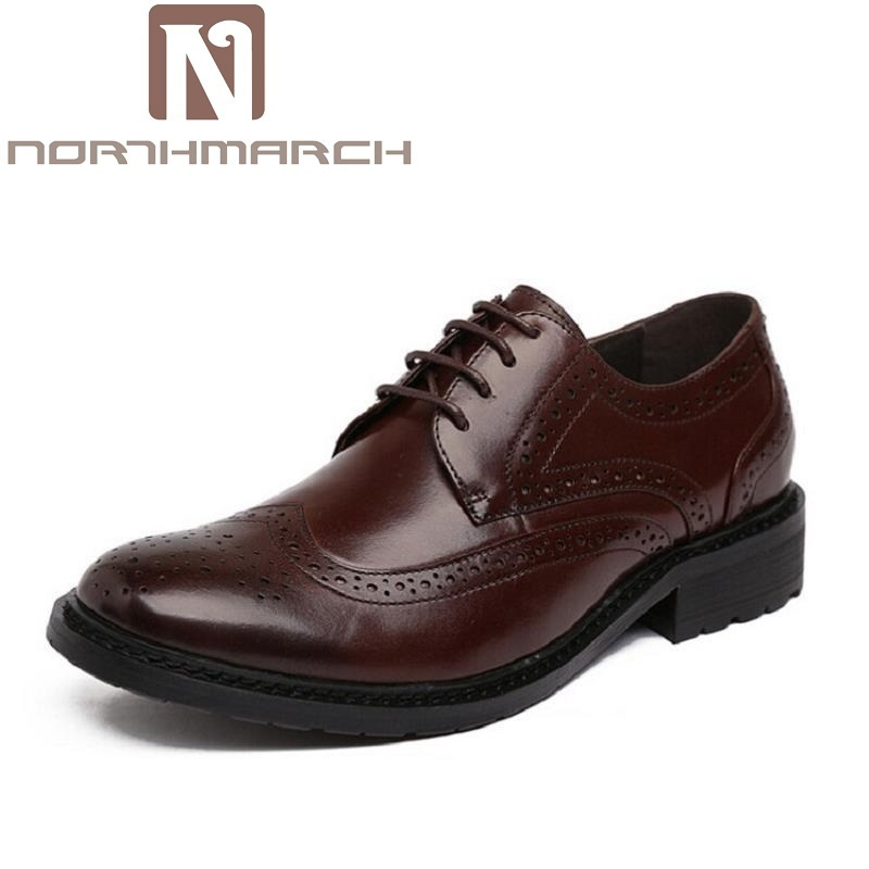 NORTHMARCH Men Dress Shoes Luxury Brand Business Casual Men's Oxfords Pointed Toe Black Men Shoes Lace Up Designer Leather Shoes okhotcn male pointed toe cow leather shoes daily plaid men casual business dress shoes oxfords men flat lace up sapato masculino