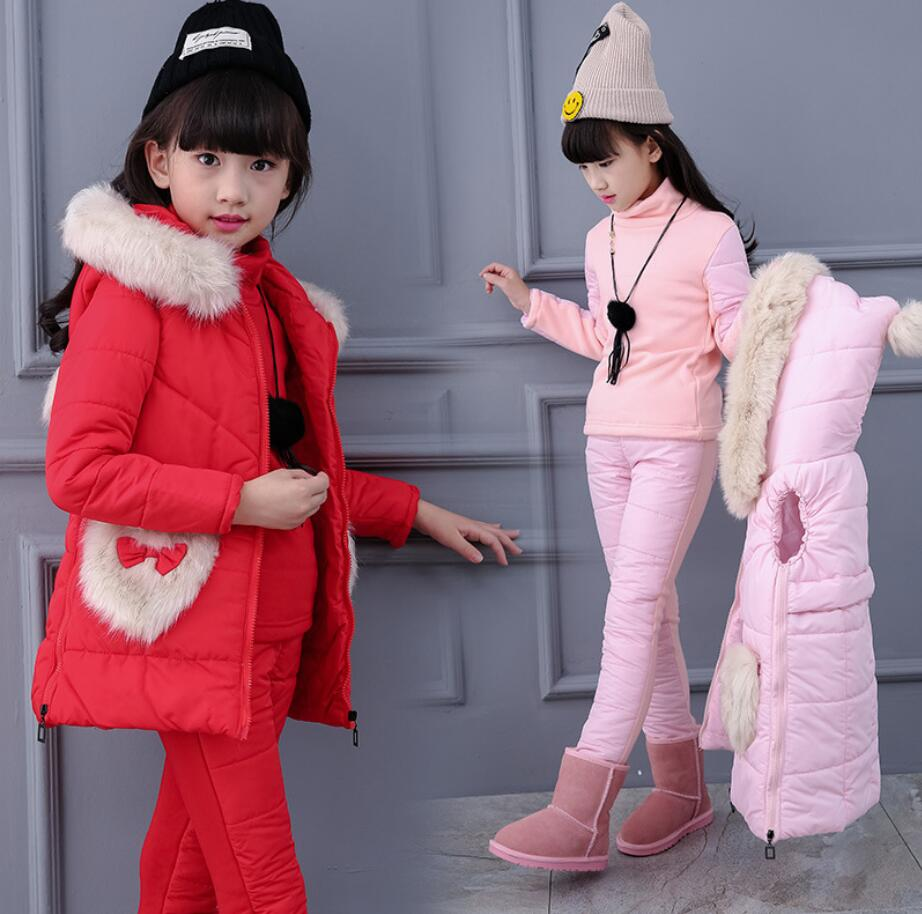 3 Pcs/1 Lot Winter Baby Girls  Clothes Sets Children Down Cotton-padded Coat+t-Shirt+Pants Kids Infant Warm Outdoot Suits HW2036 2017 winter children cotton padded parkas clothes baby girls