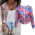 2016 Winter autumn women jacket Printed Embroidery short Jacket Long Sleeve Outwear open stitch Coat ethnic jackets mujer Retro