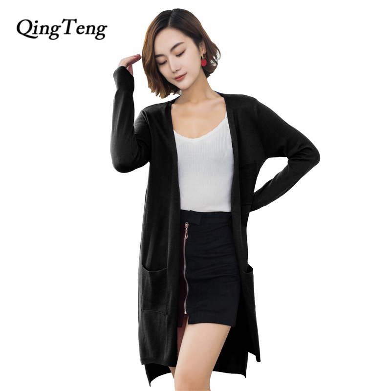Cardigan Women Long With Pockets Cashmere Spring Summer Fashion New 2018 Knitted Tunic Womens Korean Style Design Black Blue
