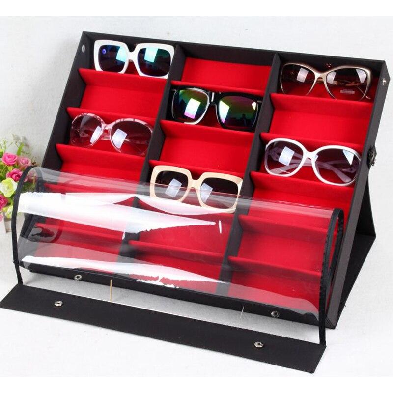 Beddom Sunglasses Box Black Wood 18Grids Eyeglass Box Eyewear Organizer Display Case Box Collector Sunglasses Storage