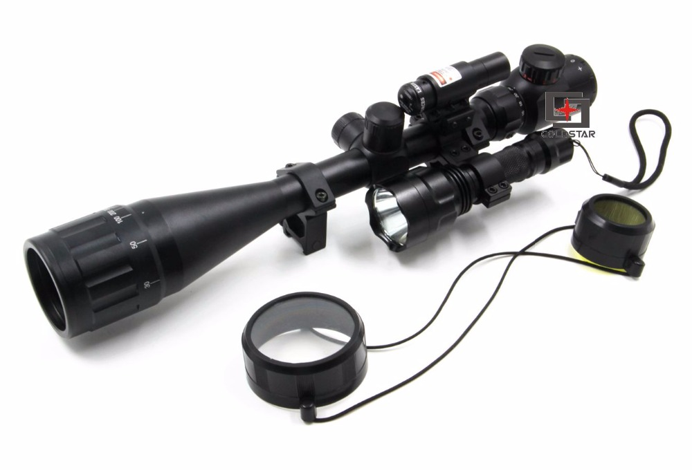 6-24x50AOE Hunting Rifle Scope Compact ComboSight with Laser & T6 LED Airsoft Shooting Flashlight 5 Mode C8 Torch Flash Light x400 led weapon light handgun flashlight with red laser sight for rifle scope outdoor hunting shooting camping free shipping
