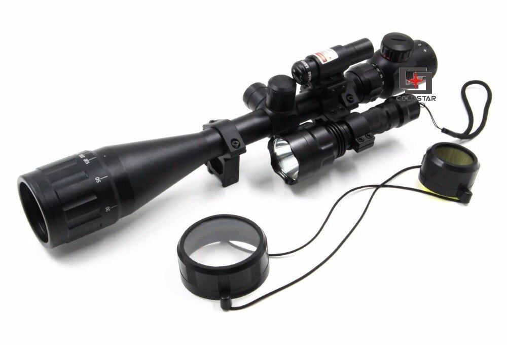 6-24x50AOE portée de fusil de chasse ComboSight Compact avec Laser et T6 LED Airsoft tir lampe de poche 5 Mode C8 torche Flash