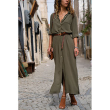 Fashion Women Long Dress Solid Ladies Autumn Winter Long Sleeve Turn Down Shirt Dress Casual Button Maxi Dresses Vestido D30