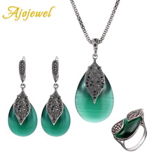Ajojewel Parure Bijoux Femme Red / Green Opal Jewelry Set Bridal Weddi
