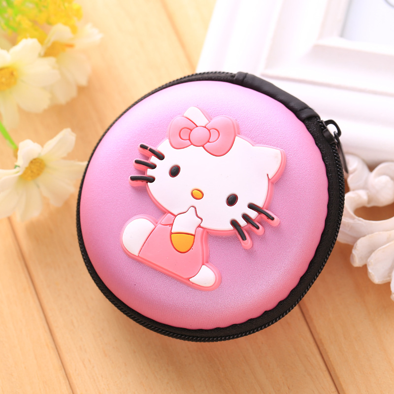 Kawaii Cute Cartoon EVA Silicone Coin Purse Hello Kitty Bag Earphone Holder Mini Zipper Coin Wallet Gifts Boys Girls Coin Purses portable mini coin purse pu eva box for coins earphone headphone sd tf cards cable cord wire storage key wallet bag coin purses