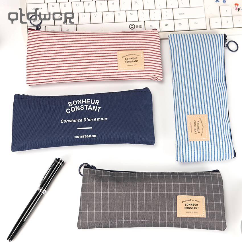 High Quality Brief Canvas Pencil Case School Supplies Cute Stationery Gift School Pencil Box Pencil Bag big capacity high quality canvas shark double layers pen pencil holder makeup case bag for school student with combination coded lock