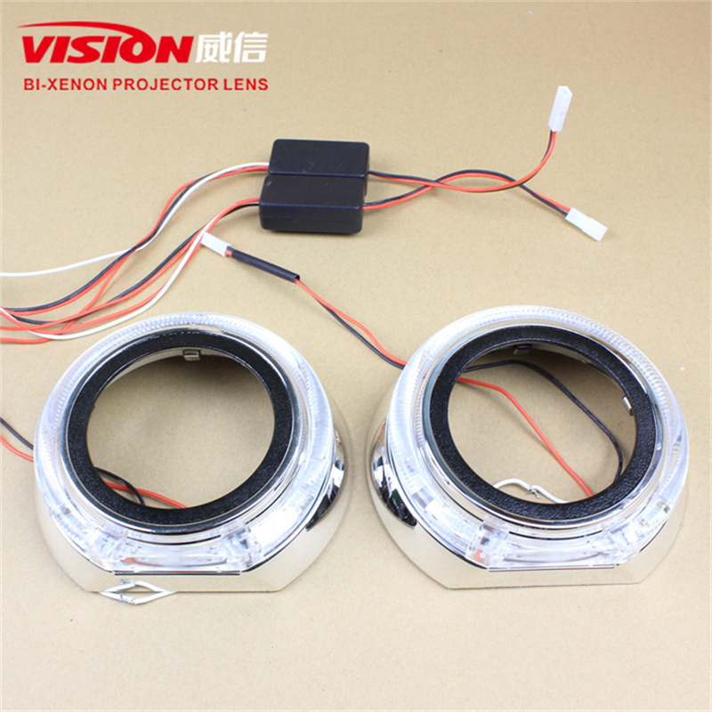 Free Shipping IPHCAR Car Styling China Car Accessories Hid Bi Xenon Projector Lens LED Angel Eyes Projector Shroud 1x original hella projector control wire q5 bi xenon hid projector solenoid wire plug pigtail set wiring car styling accessories
