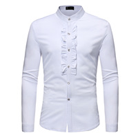 Ruffle Decoration Solid Men's Dress Shirt Mandarin Collar Camisa Masculina Tuxedo Shirts Long Sleeve Cotton Chemise Homme S23