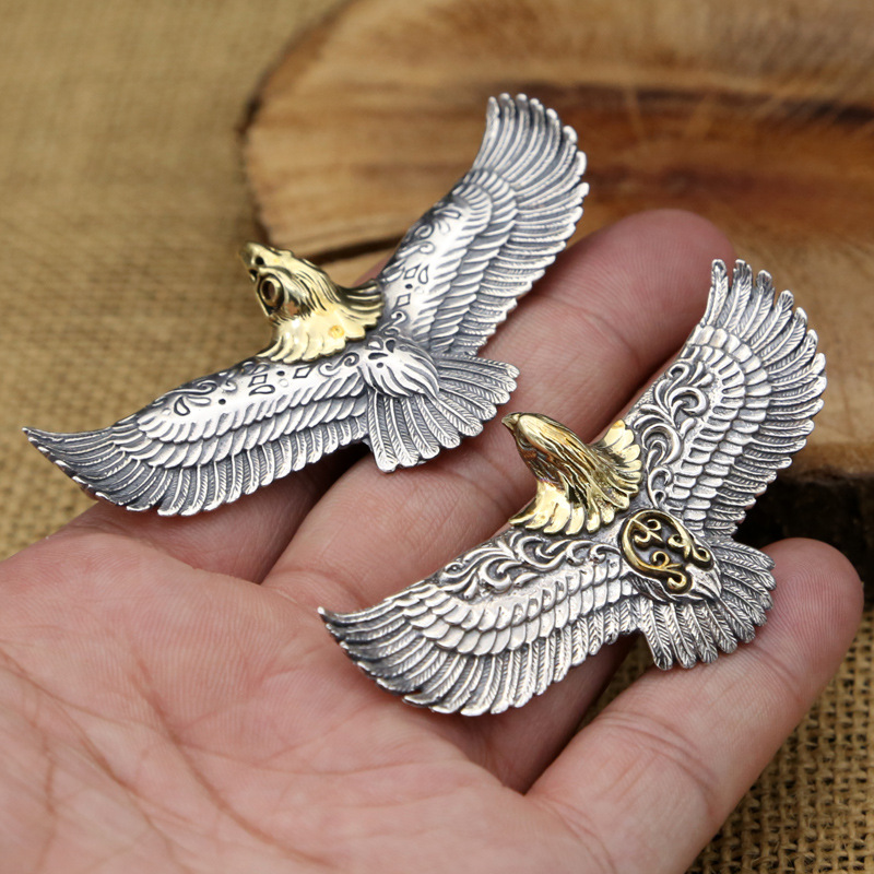 S925 Sterling Silver Jewelry Vintage Thai Silver Personality Flying Eagle Takahashi Popular Male And Female Pendants
