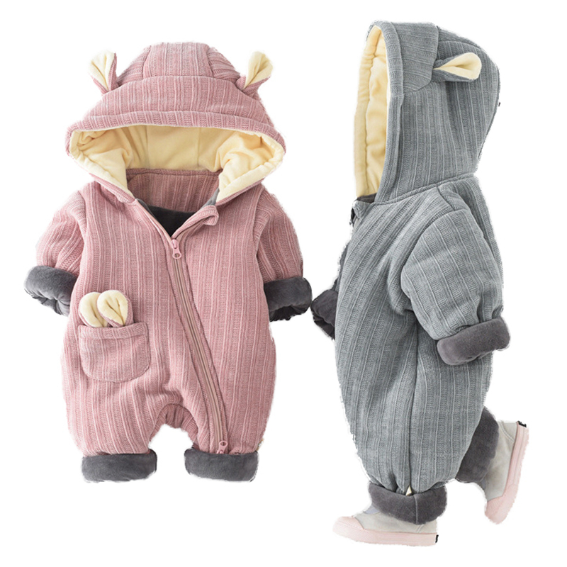 Baby Rompers Winter Boys Girls Hooded Casual Clothes Cartoon Bear Long Sleeves Kids Jumpsuit Infant Soft Cotton Overalls cotton baby rompers set newborn clothes baby clothing boys girls cartoon jumpsuits long sleeve overalls coveralls autumn winter