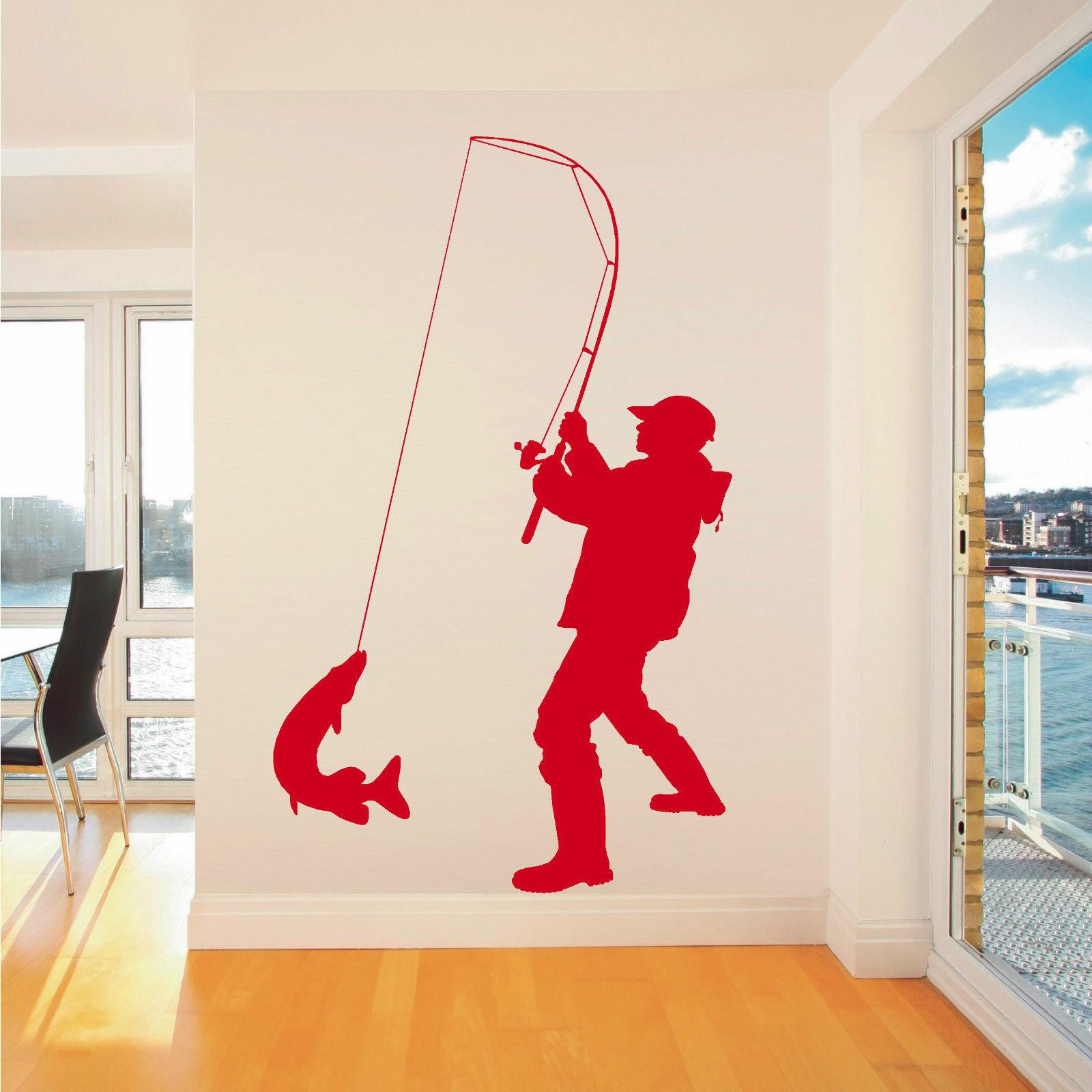 popular children room decals buy cheap children room decals lots zn g155 fisherman angler fishing vinyl wall art sticker decal children room wall stickers art living
