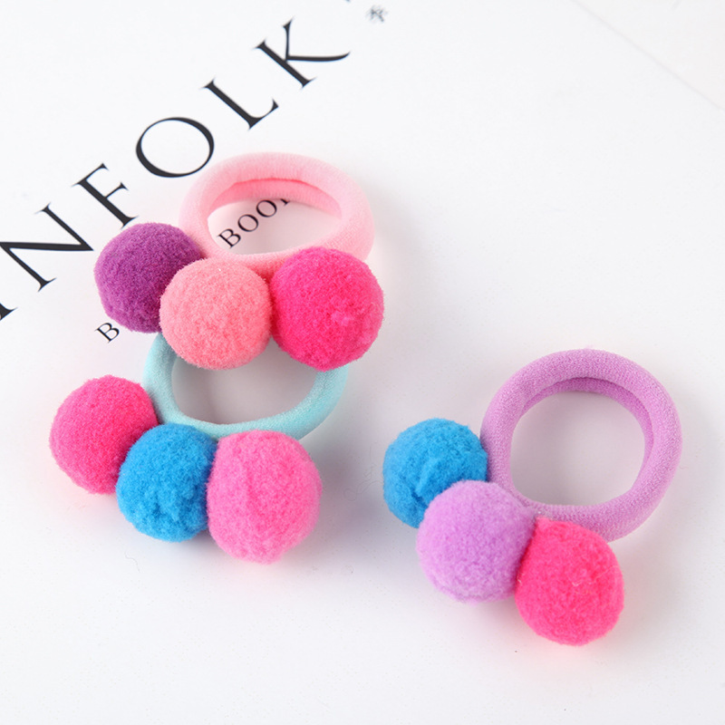 New Cute 3 Colorful Ball Hair Ties Girls Kids Elastic Hair Bands Hairband Scrunchies Hair Rope Rubber Korean Hair Accessories in Hair Accessories from Mother Kids