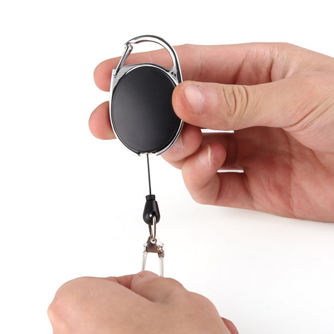 Hot Sell Outdoor Telescopic Wire Rope Key Burglar Keychain Tactical EDC Retractable Chain Return Key Ring Holder