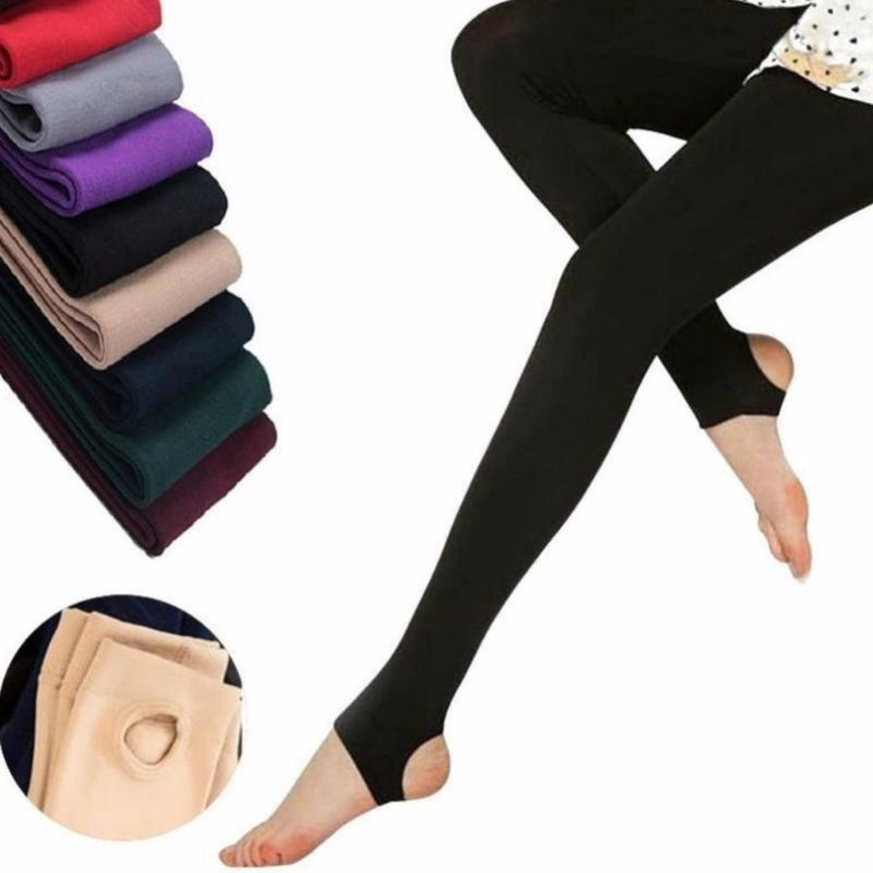 1PCS Autumn Stirrup Leggings Elastic Velvet Thermal Ankle Slim High Waist Leggings For Women Casual Pants