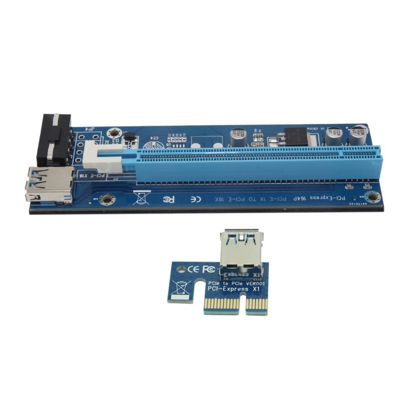PCI-E Riser Card PCI Express 1X 2X 4X 8X 16X Graphics Card Raiser 4Pin SATA PCIe Riser Board for Bitcoin Mining BTC Miner