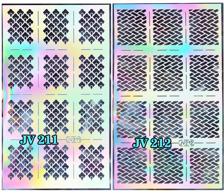 1sheet Silver Hollow Nail Art Template Stencil Stickers Fish Scale Vinyls Image Polish Design Guide Manicure Tools 8