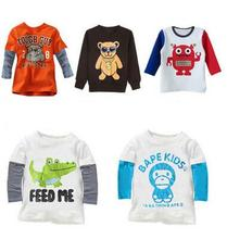 2016 tiskok New Arrivals 100% Cotton Kids Clothes Child Blouse Clothing For Boys Long sleeve children clothing t-shirts casual