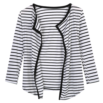 New Women Fashion Casual Cardigan  Long Sleeve Striped Peplum Tops Jackets Women Casual Striped Cotton Clothing jeans con blazer mujer