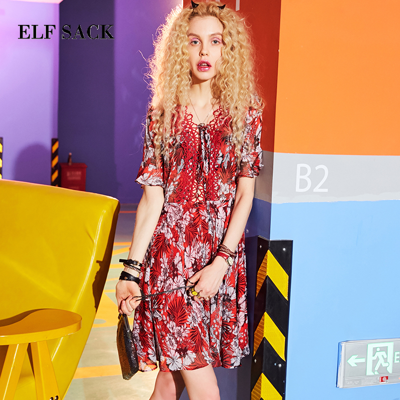 ELF SACK Women Chiffon Dresses Party Wear Lace V Neck Floral Womens Dress Hollow Out Holiday