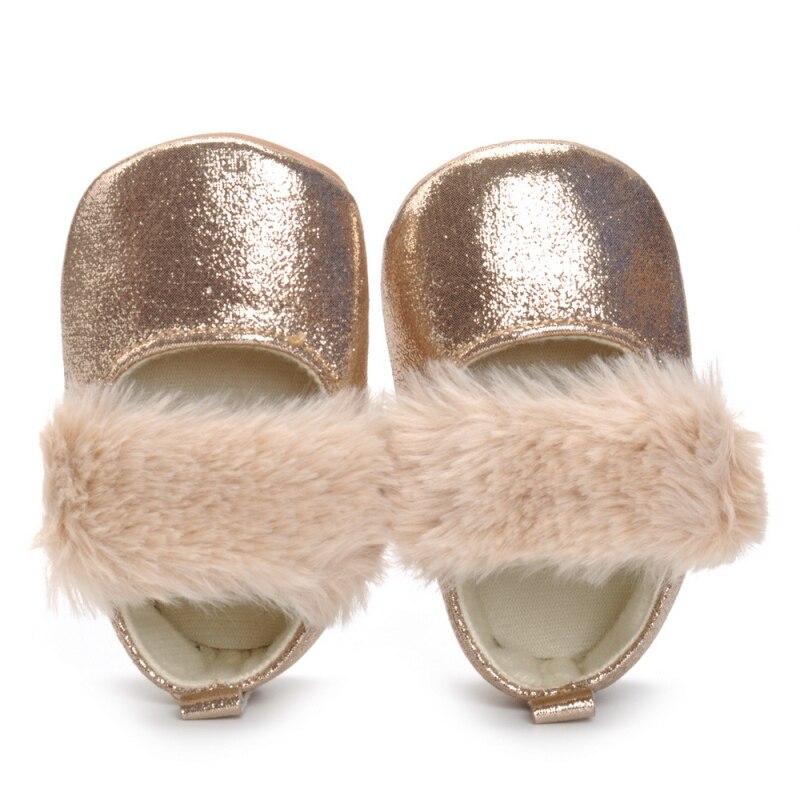 Golden Baby Girl Shoes Newborn PU Fashion Plush Autumn Baby Shoes First Walkers Cute Princess Shoes