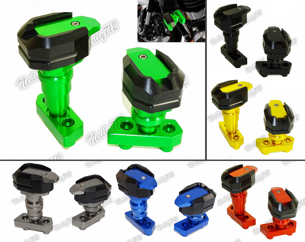 Left & Right Engine Cover Crash Pads Frame Sliders Protector For KAWASAKI Z750 2007 2008 2009 2010 2011 2012 2013 2014 2015 2016 motorcycle cnc aluminum frame sliders crash pads protector suitable for kawasaki z800 2012 2013 2014 2015 2016 green