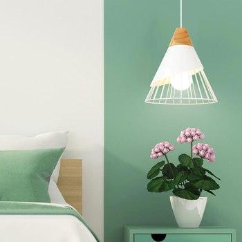 PHYVAL Pendant Lamp Modern E27 Pendant Lights Wood  For Bedroom Hanging Lamp Nordic Aluminum Lampshade LED Bulb Kitchen Light 4