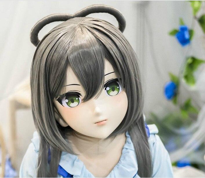 (LiLi Mask-44) Sweet Girl Resin Head Mask Kigurumi Cosplay Japanese Role Play Anime Silicone Kigurumi Mask Crossdresser Doll