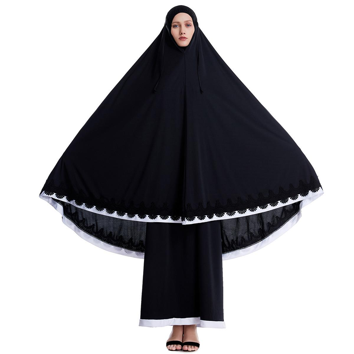 Image 4 - Ramadan Women 2 Piece Muslim Prayer Set Khimar Abaya Overhead 