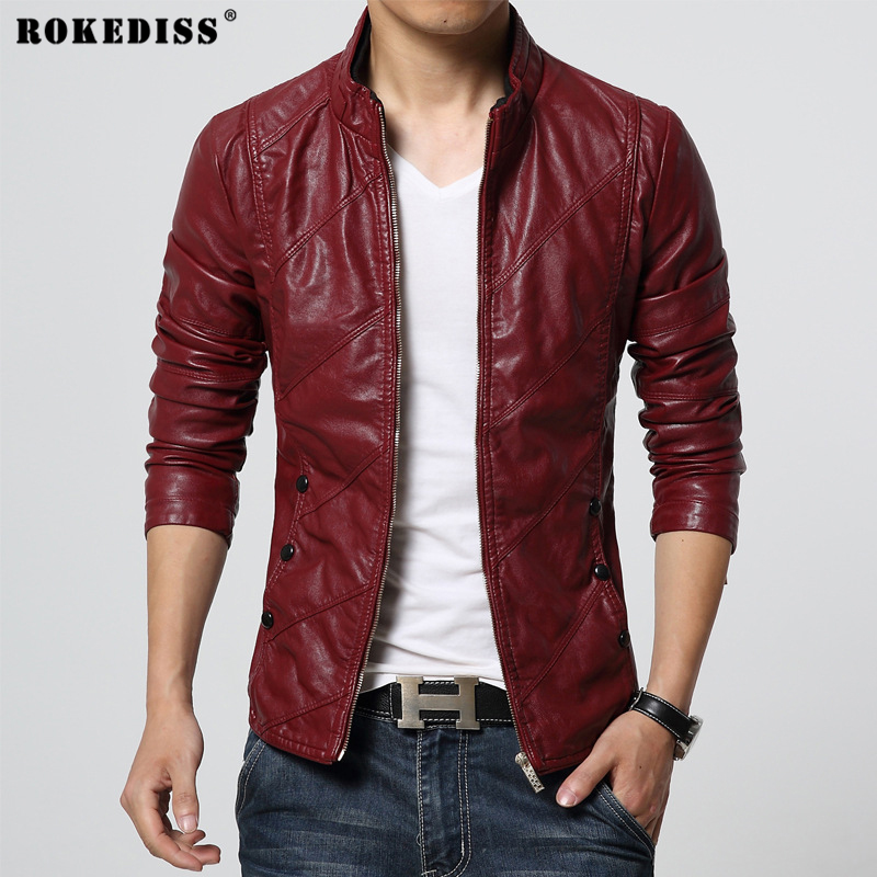 Здесь продается  ROKEDISS New Fashion PU Leather Jacket Men Black Red Brown Solid Mens PU Coats Trend Slim Fit Youth Motorcycle Suede Jacket Male  Одежда и аксессуары